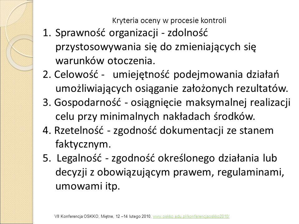 Kryteria oceny w procesie kontroli