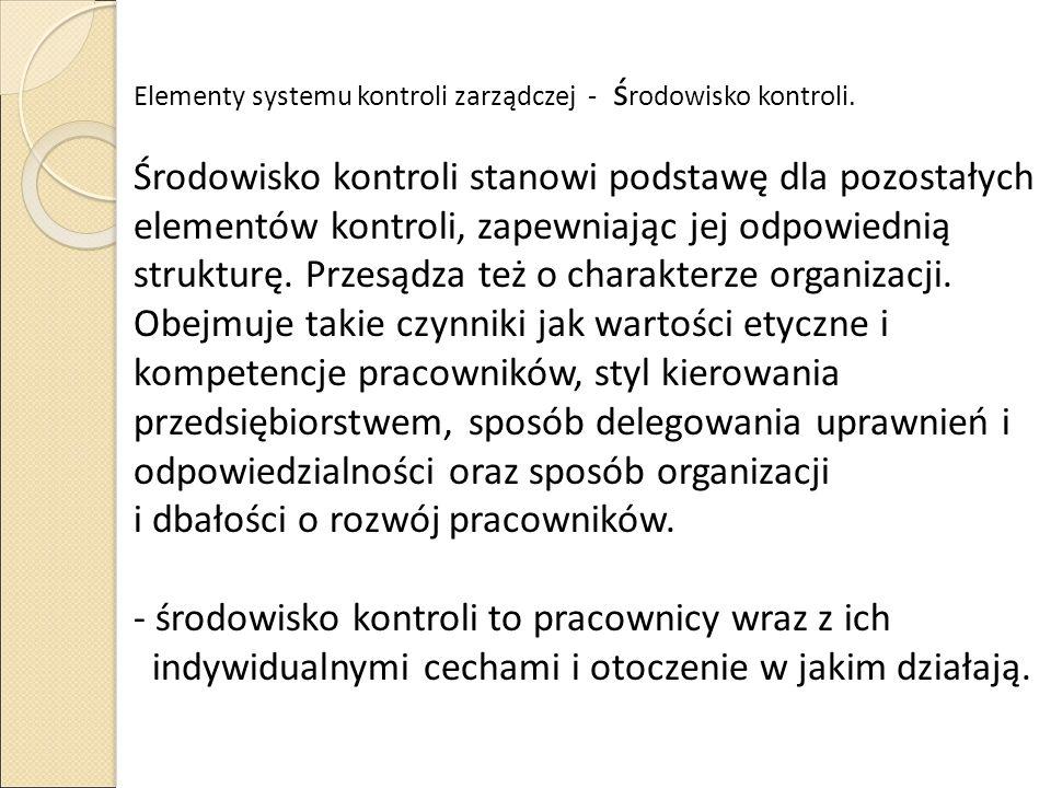 Elementy systemu kontroli zarządczej - środowisko kontroli.