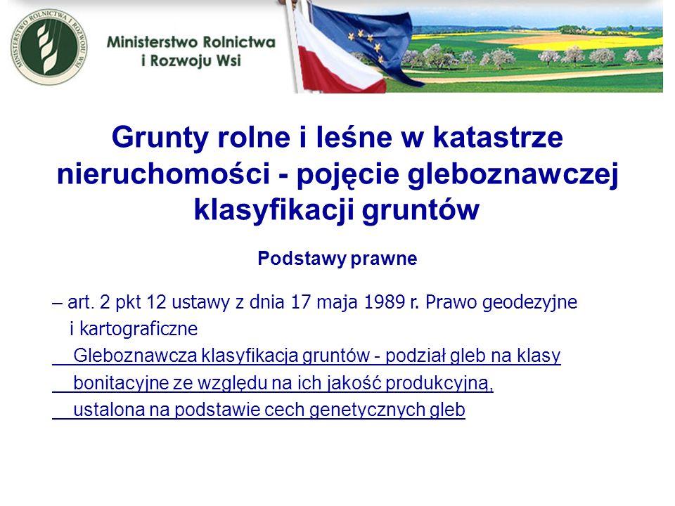 Kwiecień 2005 Grunty rolne i leśne w katastrze nieruchomości - pojęcie gleboznawczej klasyfikacji gruntów.
