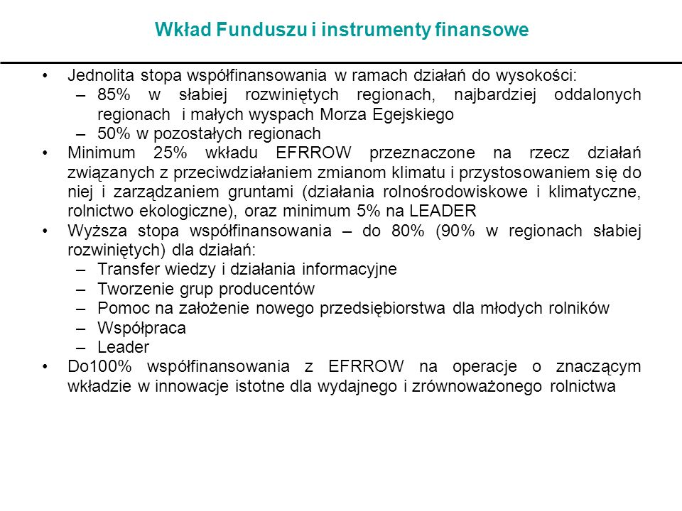 Wkład Funduszu i instrumenty finansowe