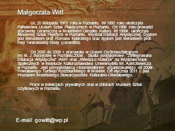 Małgorzata Witt E-mail: gowitt@wp.pl