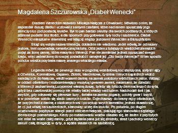 """Magdalena Szczurowska """"Diabeł Wenecki"""