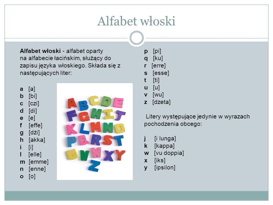 Alfabet włoskiAlfabet włoski - alfabet oparty na alfabecie łacińskim, służący do zapisu języka włoskiego. Składa się z następujących liter: