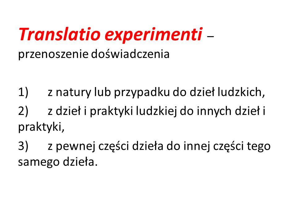 Translatio experimenti – przenoszenie doświadczenia