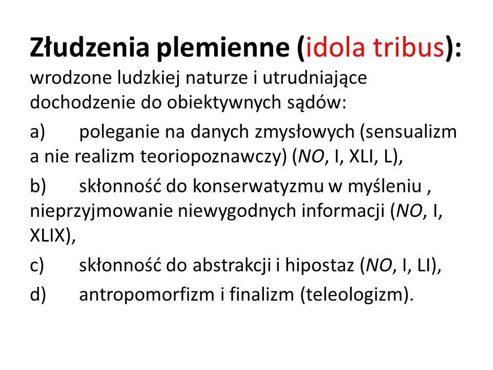 Złudzenia plemienne (idola tribus): wrodzone ludzkiej naturze i utrudniające dochodzenie do obiektywnych sądów: