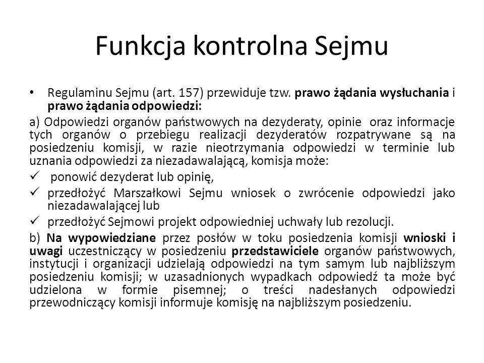 Funkcja kontrolna Sejmu