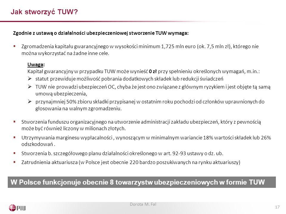 Jak stworzyć TUW Zgodnie z ustawą o działalności ubezpieczeniowej stworzenie TUW wymaga: