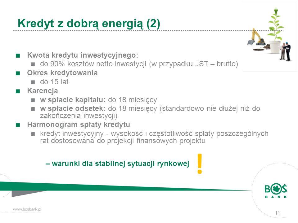 ! Kredyt z dobrą energią (2) Kwota kredytu inwestycyjnego: