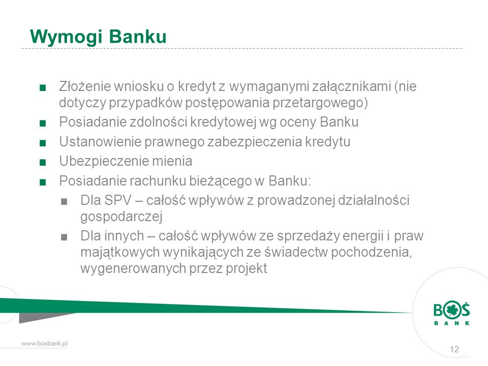 Wymogi Banku Złożenie wniosku o kredyt z wymaganymi załącznikami (nie dotyczy przypadków postępowania przetargowego)