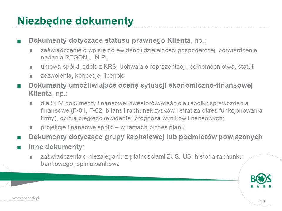 Niezbędne dokumenty Dokumenty dotyczące statusu prawnego Klienta, np.: