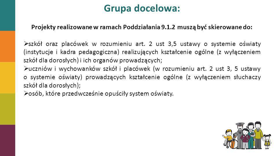Grupa docelowa:Projekty realizowane w ramach Poddziałania 9.1.2 muszą być skierowane do: