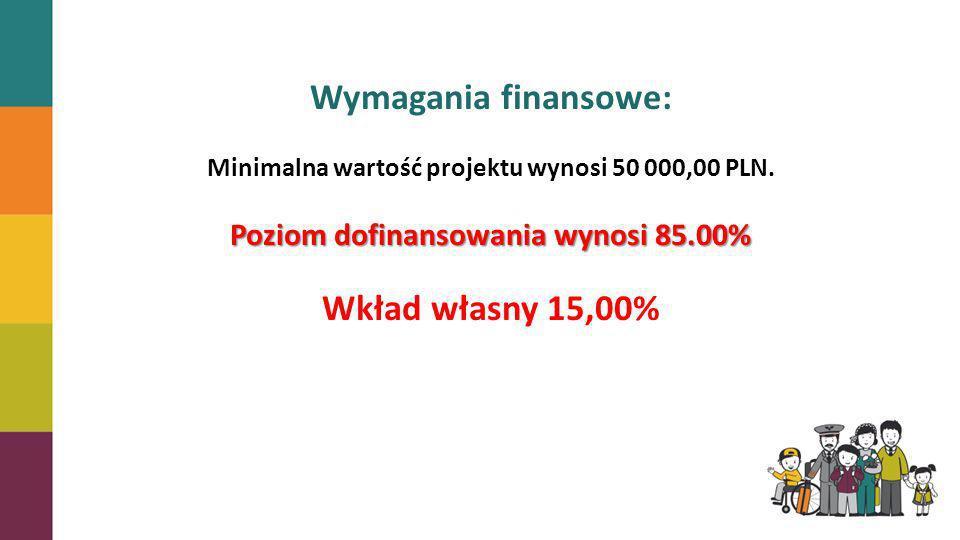 Wymagania finansowe: Wkład własny 15,00%