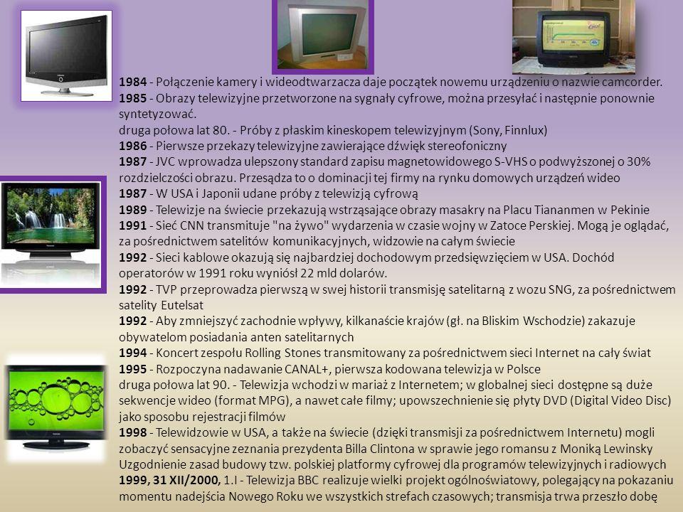 1984 - Połączenie kamery i wideodtwarzacza daje początek nowemu urządzeniu o nazwie camcorder.