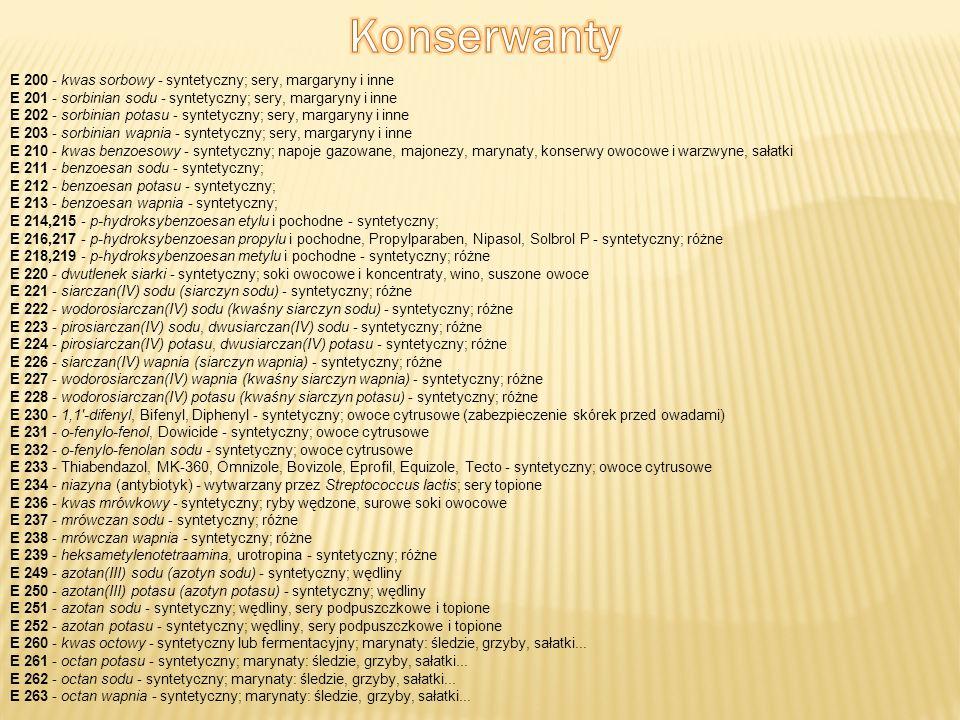 Konserwanty E 200 - kwas sorbowy - syntetyczny; sery, margaryny i inne