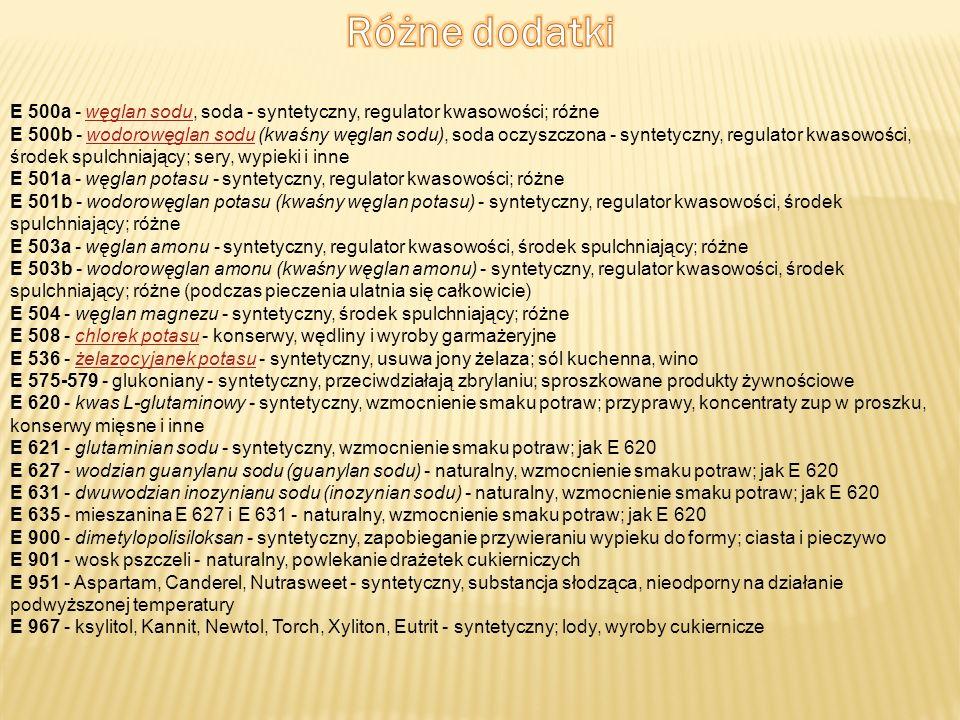 Różne dodatki E 500a - węglan sodu, soda - syntetyczny, regulator kwasowości; różne.