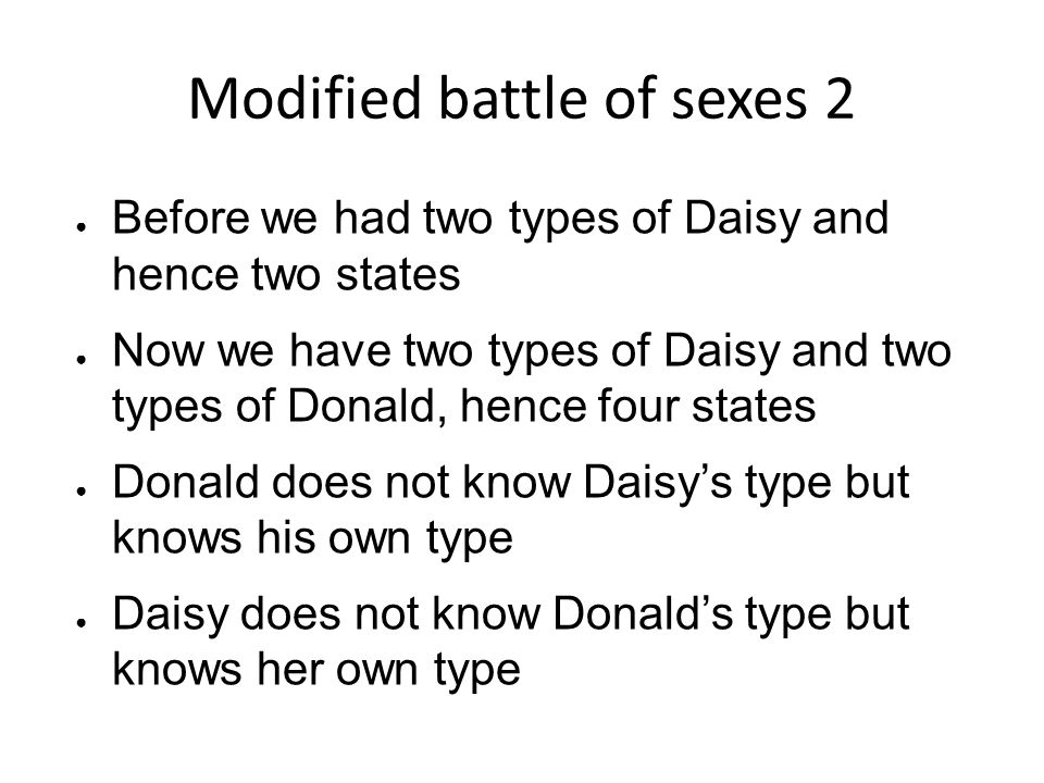 Modified battle of sexes 2
