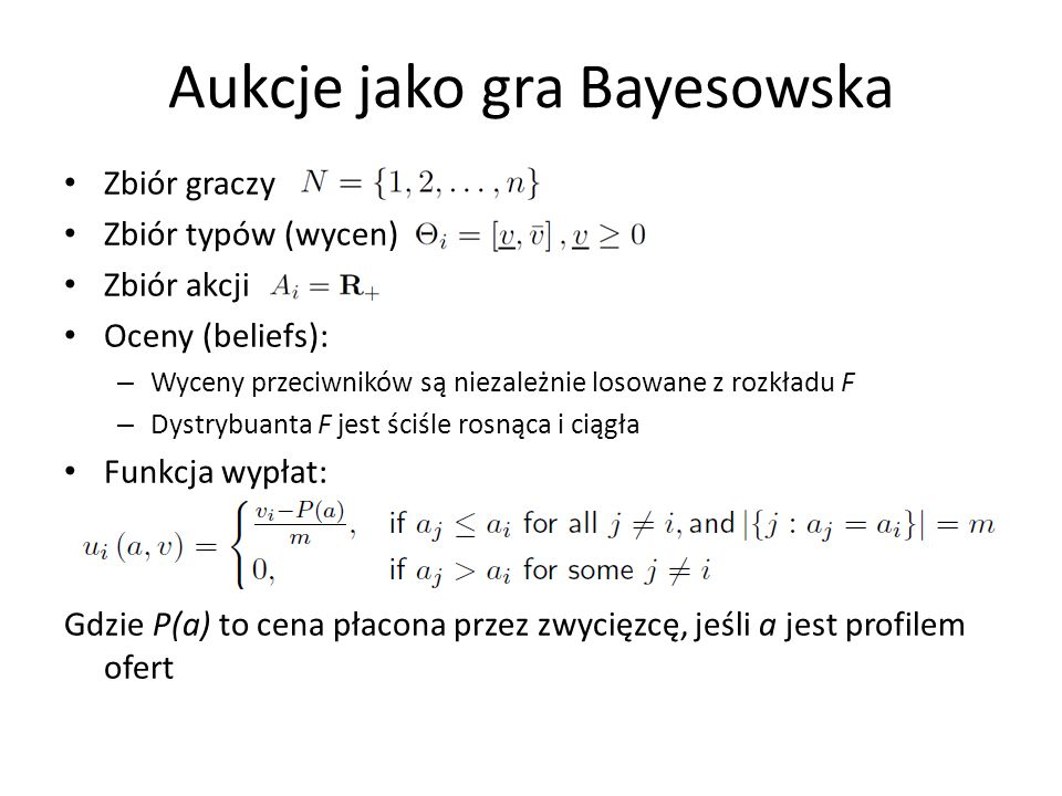 Aukcje jako gra Bayesowska