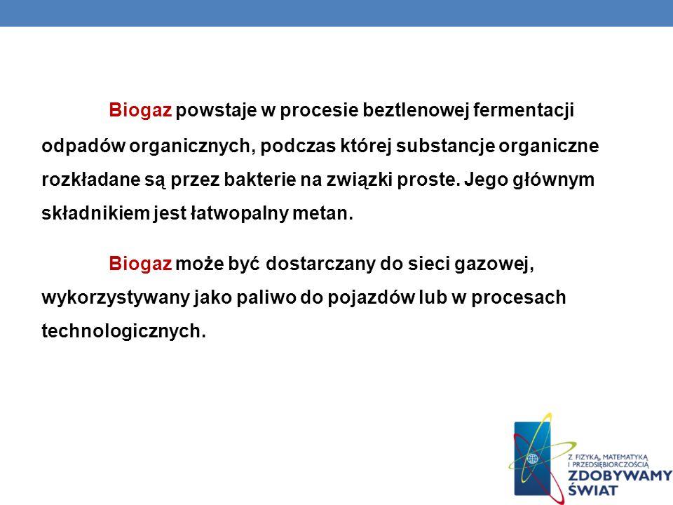 Biogaz powstaje w procesie beztlenowej fermentacji odpadów organicznych, podczas której substancje organiczne rozkładane są przez bakterie na związki proste. Jego głównym składnikiem jest łatwopalny metan.