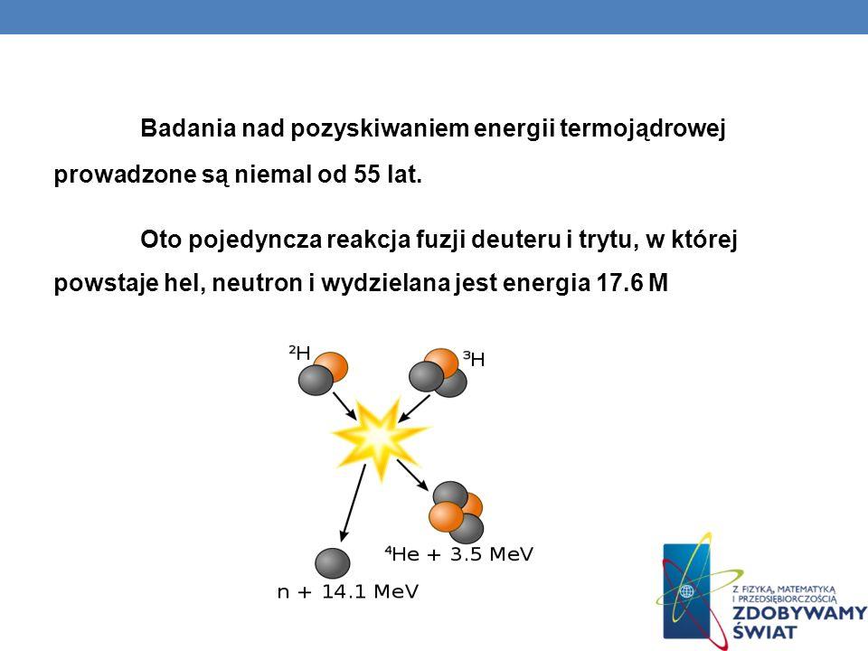 Badania nad pozyskiwaniem energii termojądrowej prowadzone są niemal od 55 lat.
