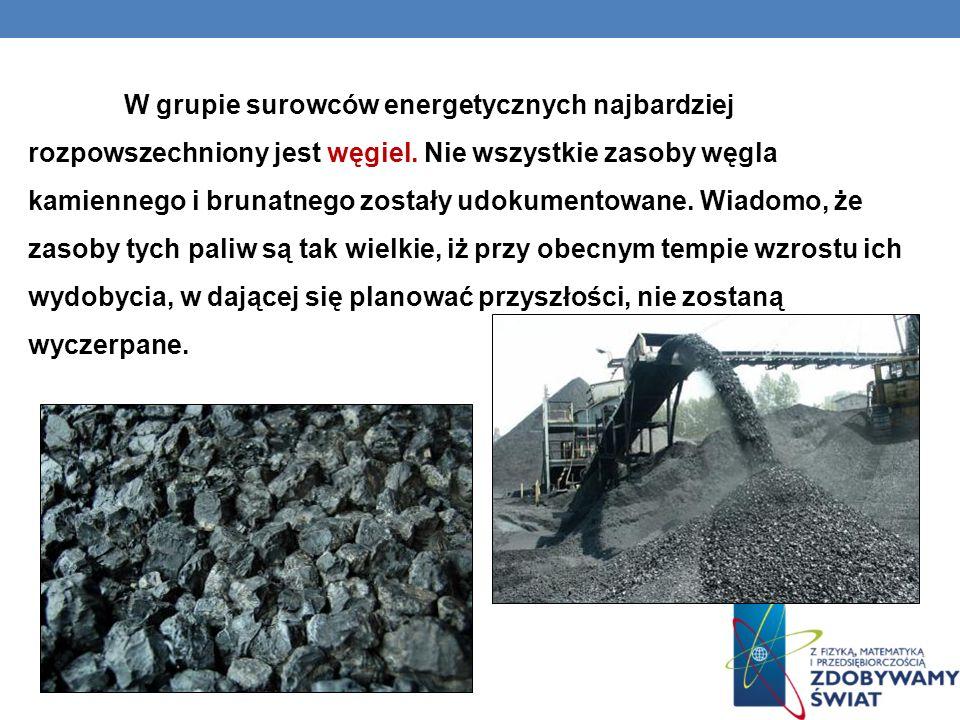 W grupie surowców energetycznych najbardziej rozpowszechniony jest węgiel.