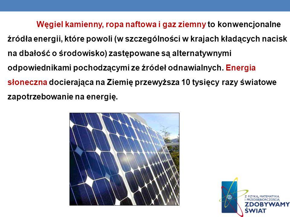 Węgiel kamienny, ropa naftowa i gaz ziemny to konwencjonalne źródła energii, które powoli (w szczególności w krajach kładących nacisk na dbałość o środowisko) zastępowane są alternatywnymi odpowiednikami pochodzącymi ze źródeł odnawialnych.
