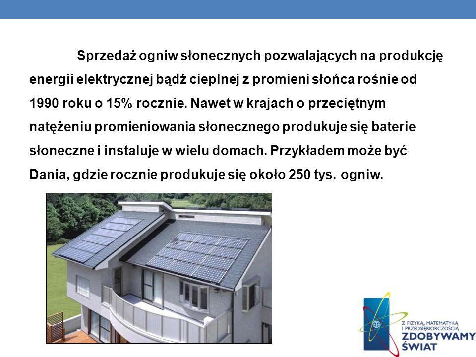 Sprzedaż ogniw słonecznych pozwalających na produkcję energii elektrycznej bądź cieplnej z promieni słońca rośnie od 1990 roku o 15% rocznie.