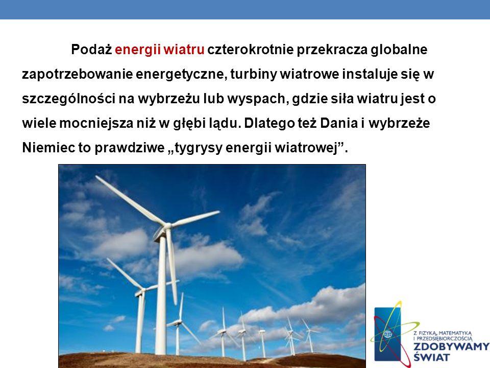 Podaż energii wiatru czterokrotnie przekracza globalne zapotrzebowanie energetyczne, turbiny wiatrowe instaluje się w szczególności na wybrzeżu lub wyspach, gdzie siła wiatru jest o wiele mocniejsza niż w głębi lądu.
