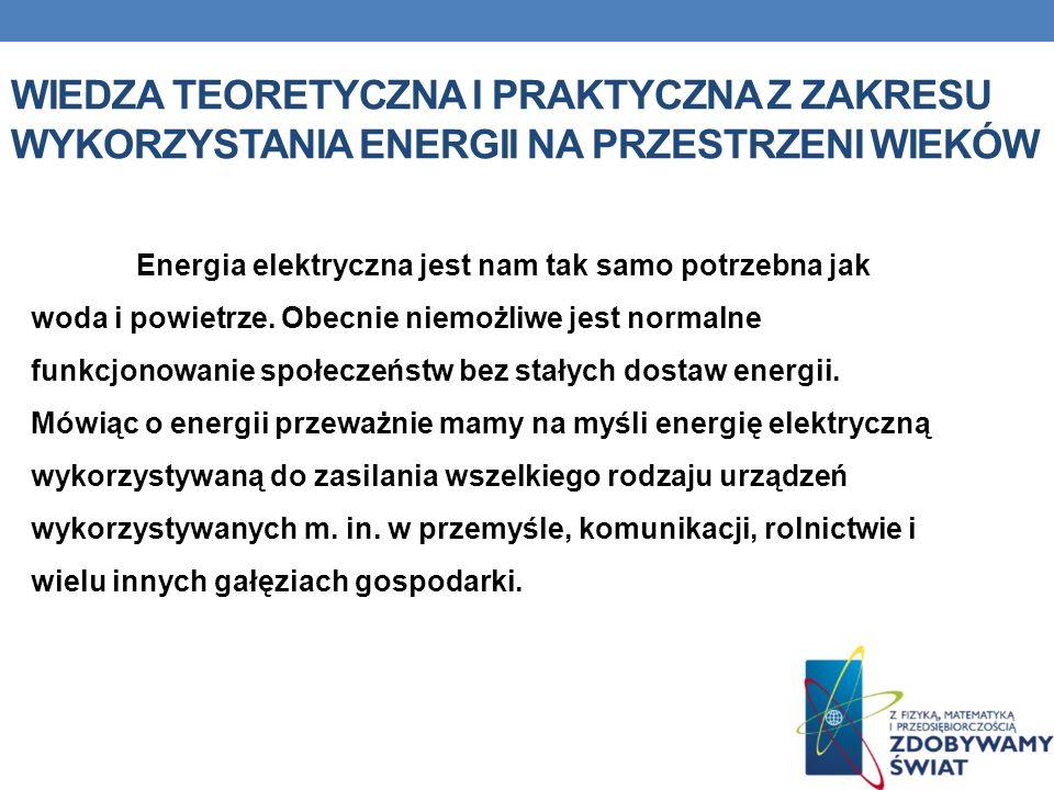 Wiedza teoretyczna i praktyczna z zakresu wykorzystania energii na przestrzeni wieków