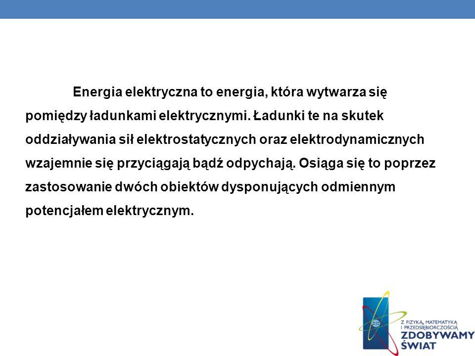 Energia elektryczna to energia, która wytwarza się pomiędzy ładunkami elektrycznymi.
