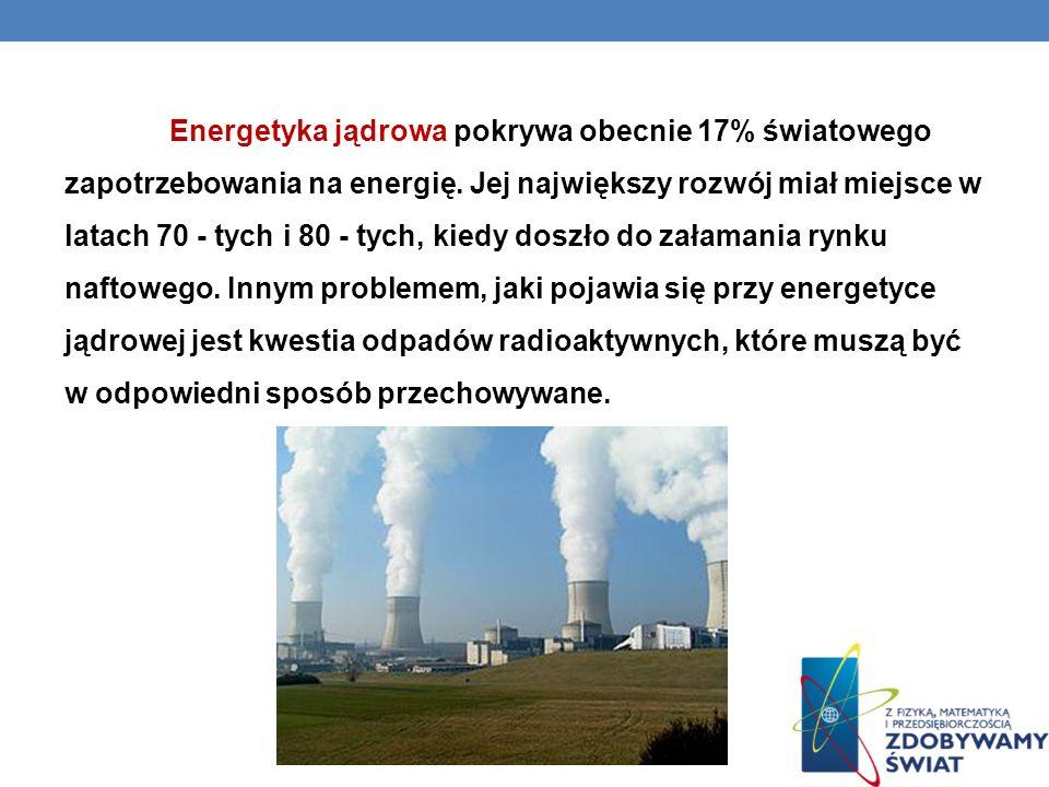Energetyka jądrowa pokrywa obecnie 17% światowego zapotrzebowania na energię.