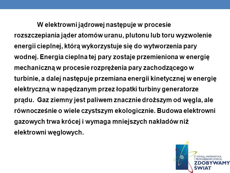 W elektrowni jądrowej następuje w procesie rozszczepiania jąder atomów uranu, plutonu lub toru wyzwolenie energii cieplnej, którą wykorzystuje się do wytworzenia pary wodnej.