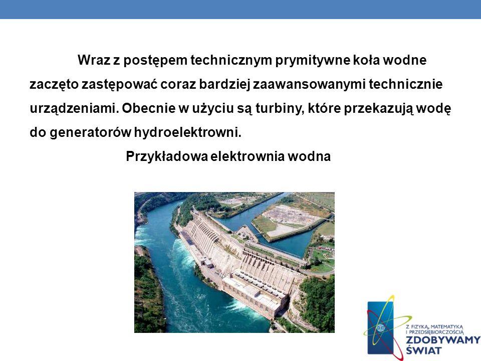 Wraz z postępem technicznym prymitywne koła wodne zaczęto zastępować coraz bardziej zaawansowanymi technicznie urządzeniami. Obecnie w użyciu są turbiny, które przekazują wodę do generatorów hydroelektrowni.