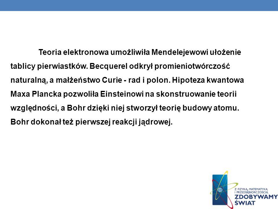 Teoria elektronowa umożliwiła Mendelejewowi ułożenie tablicy pierwiastków.