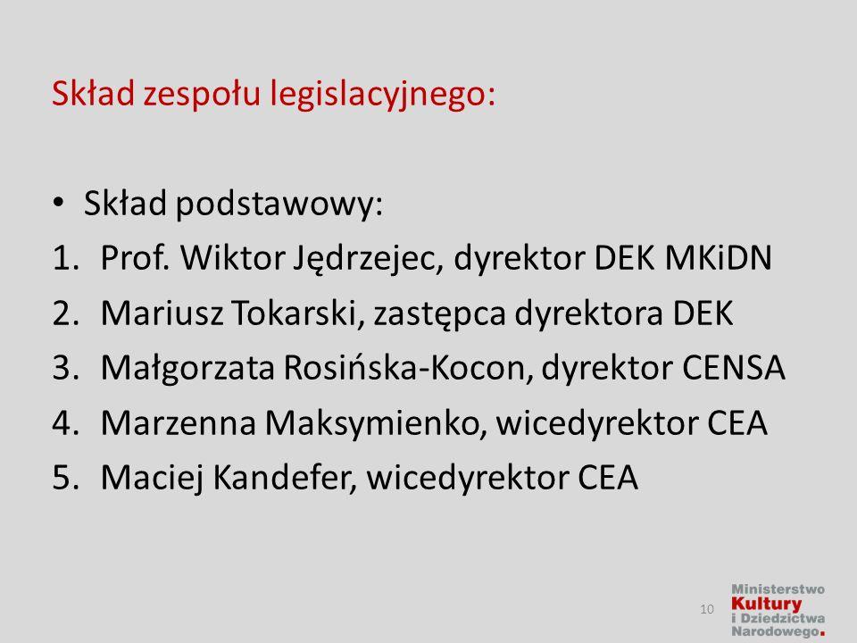 Skład zespołu legislacyjnego: