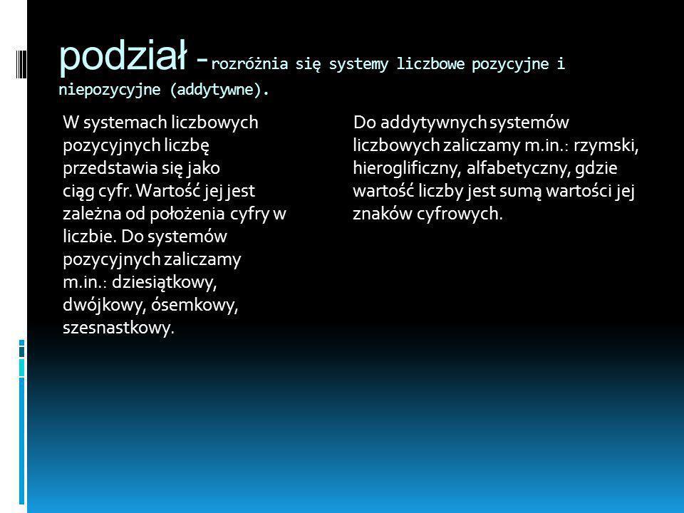 podział -rozróżnia się systemy liczbowe pozycyjne i niepozycyjne (addytywne).