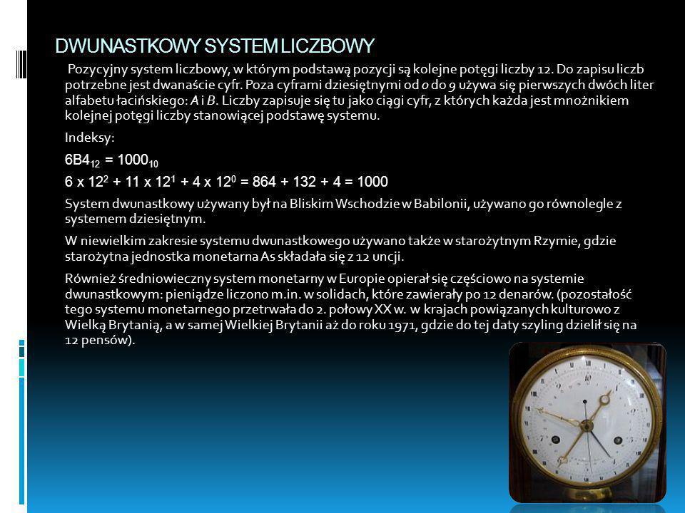 DWUNASTKOWY SYSTEM LICZBOWY