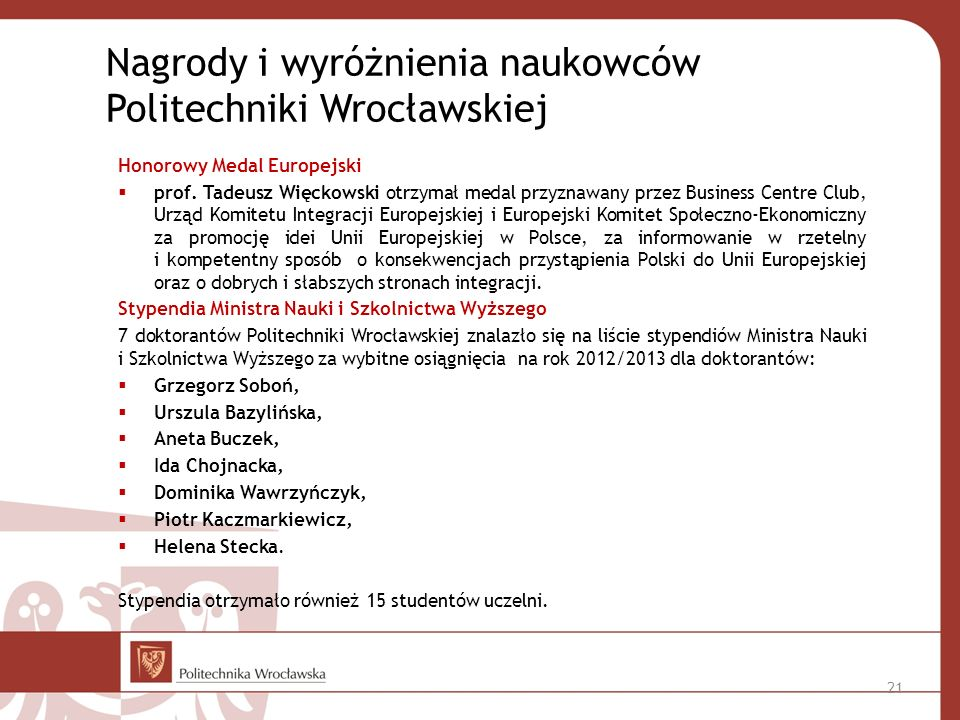 Nagrody i wyróżnienia naukowców Politechniki Wrocławskiej