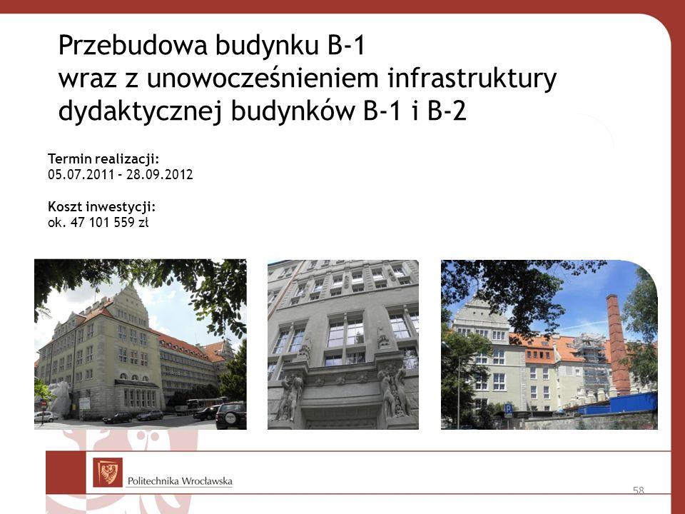 Przebudowa budynku B-1 wraz z unowocześnieniem infrastruktury dydaktycznej budynków B-1 i B-2