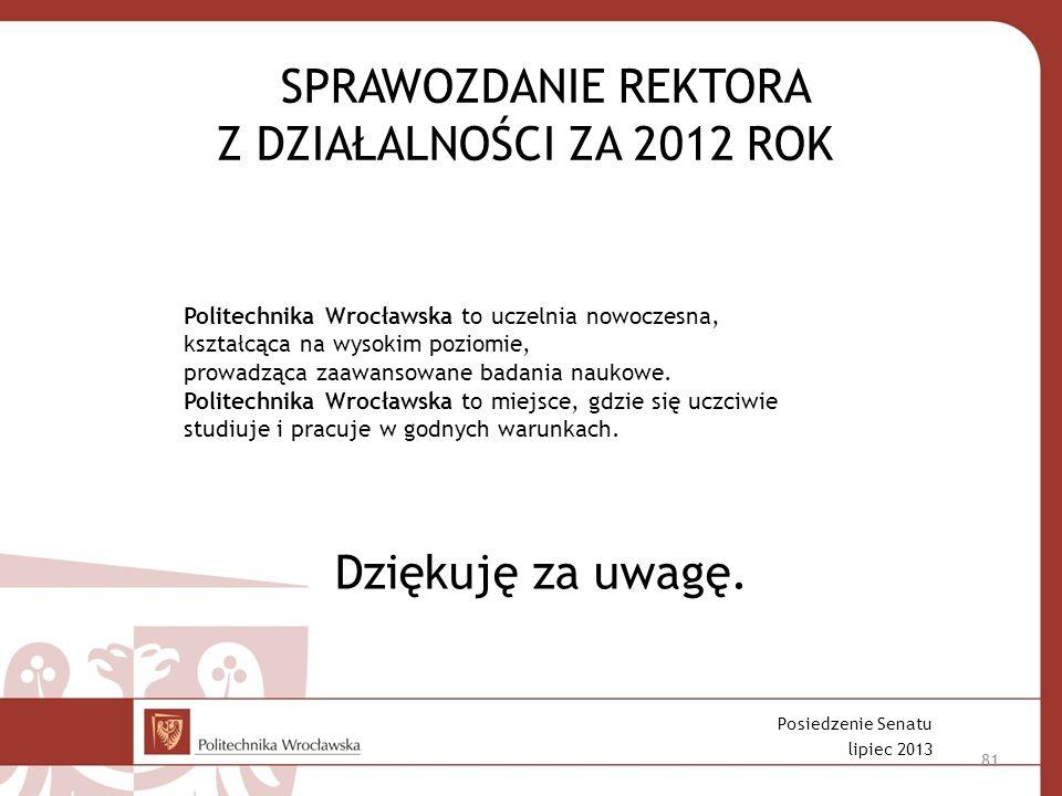 SPRAWOZDANIE REKTORA Z DZIAŁALNOŚCI ZA 2012 ROK