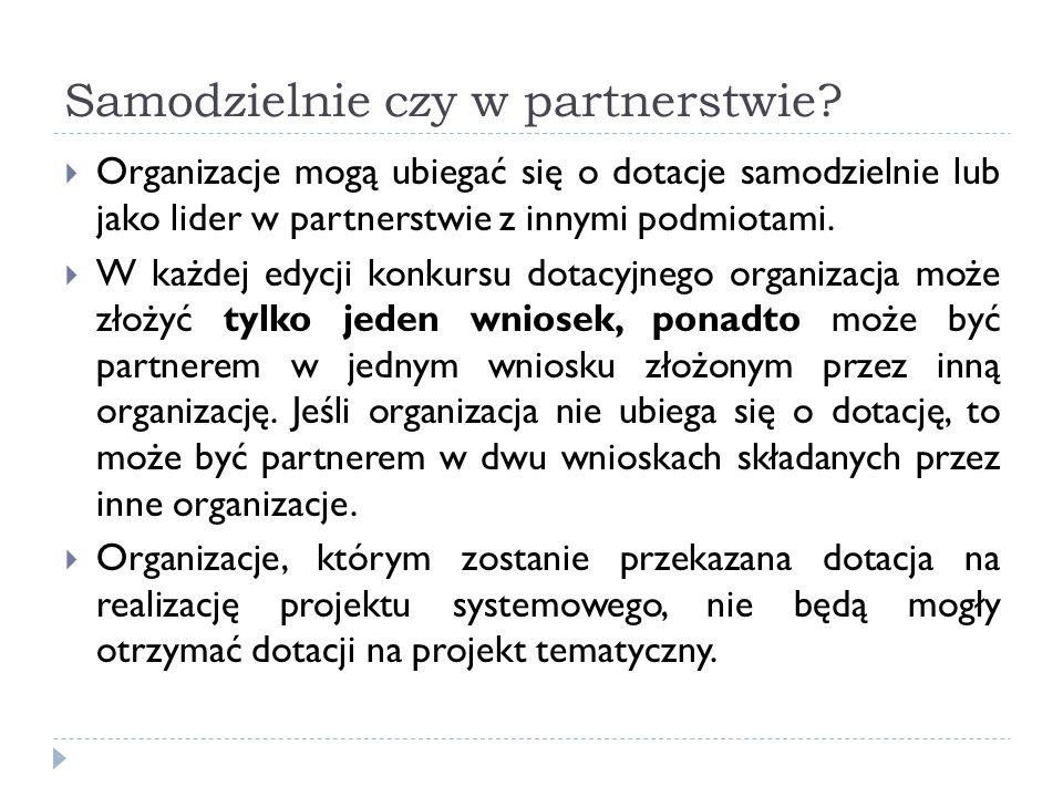 Samodzielnie czy w partnerstwie