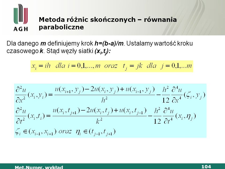 Metoda różnic skończonych – równania paraboliczne