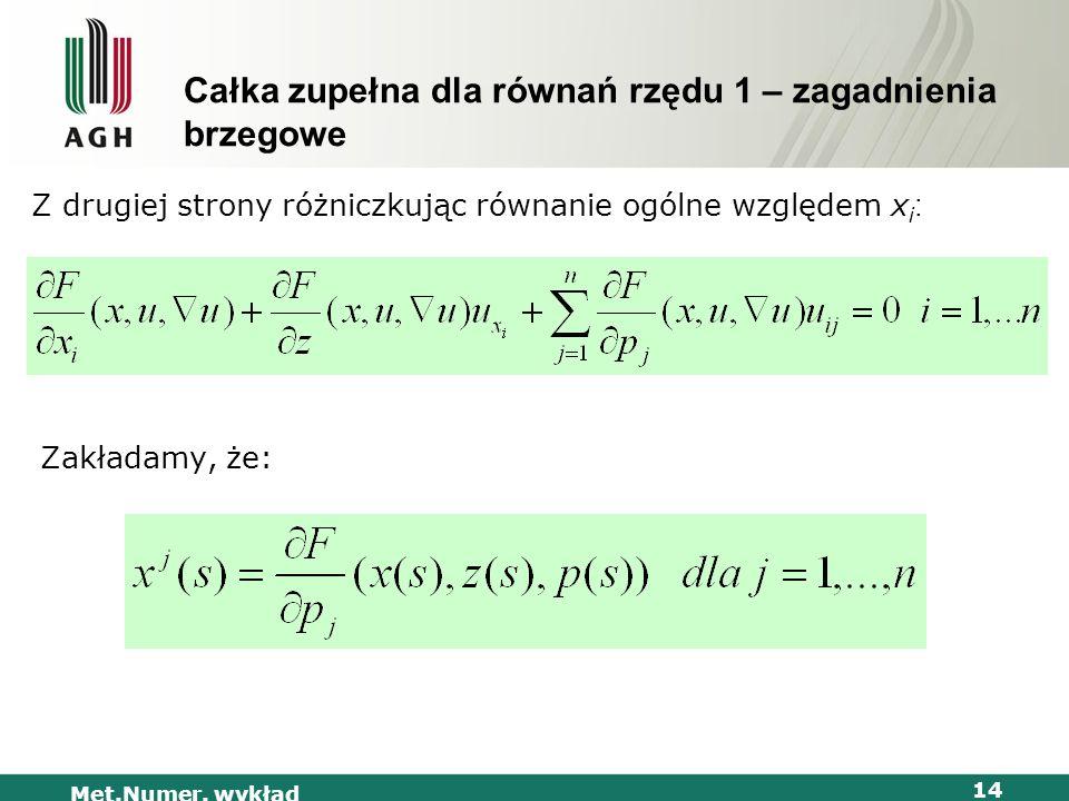 Całka zupełna dla równań rzędu 1 – zagadnienia brzegowe