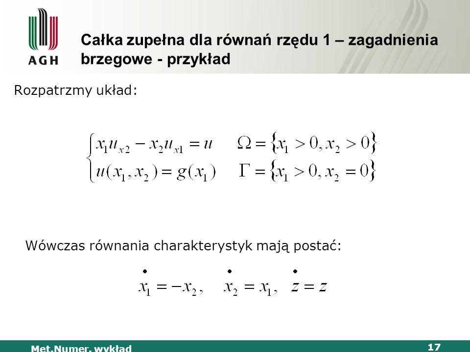 Całka zupełna dla równań rzędu 1 – zagadnienia brzegowe - przykład