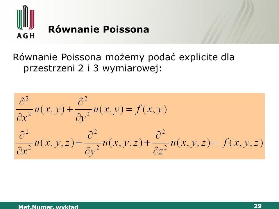 Równanie Poissona Równanie Poissona możemy podać explicite dla przestrzeni 2 i 3 wymiarowej: Met.Numer.