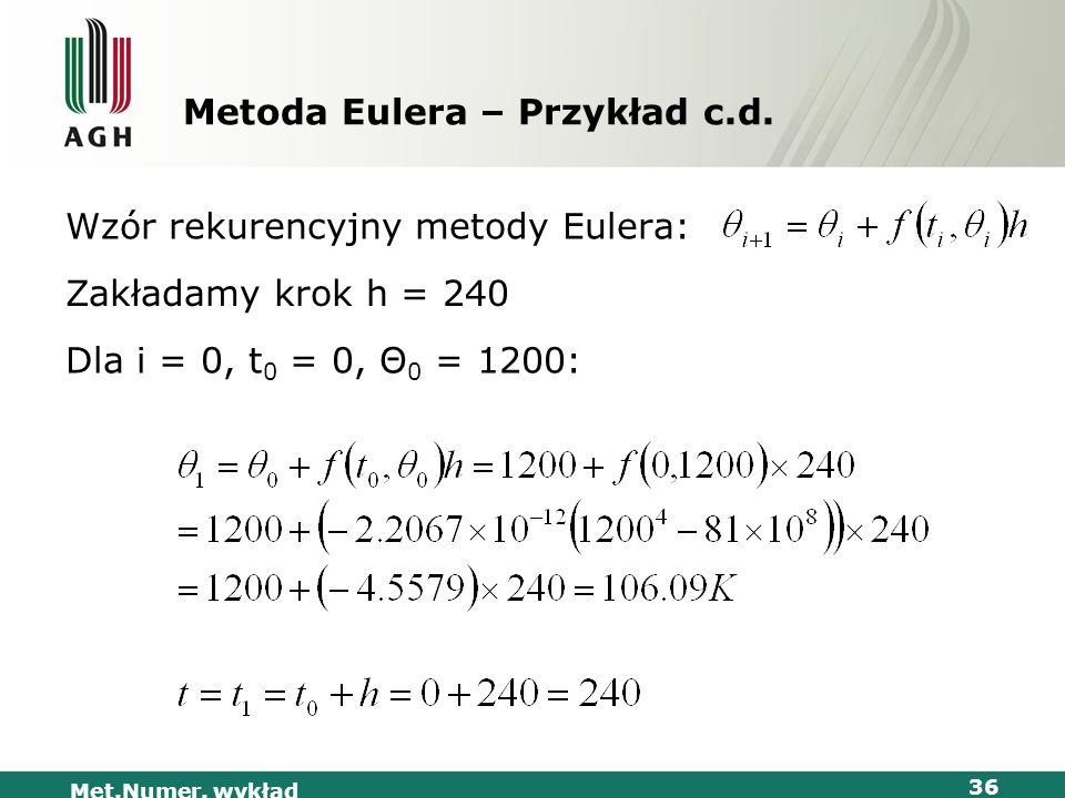 Metoda Eulera – Przykład c.d.