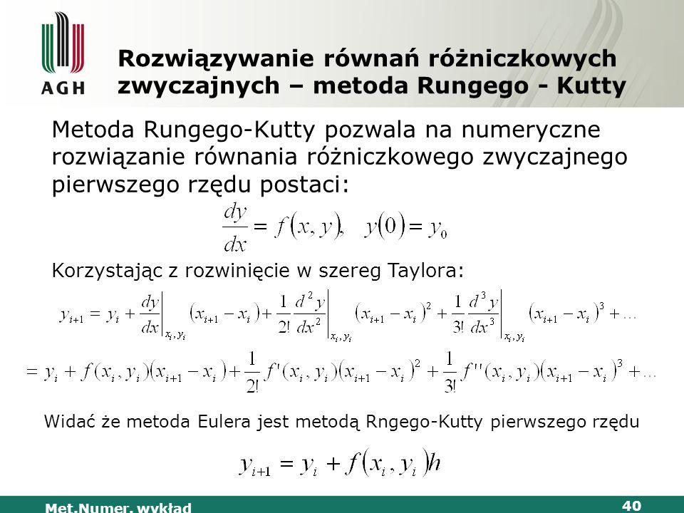 Widać że metoda Eulera jest metodą Rngego-Kutty pierwszego rzędu