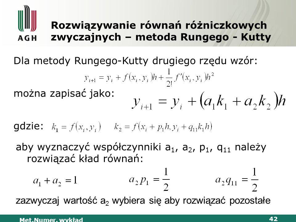 Dla metody Rungego-Kutty drugiego rzędu wzór: