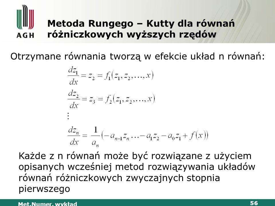 Metoda Rungego – Kutty dla równań różniczkowych wyższych rzędów