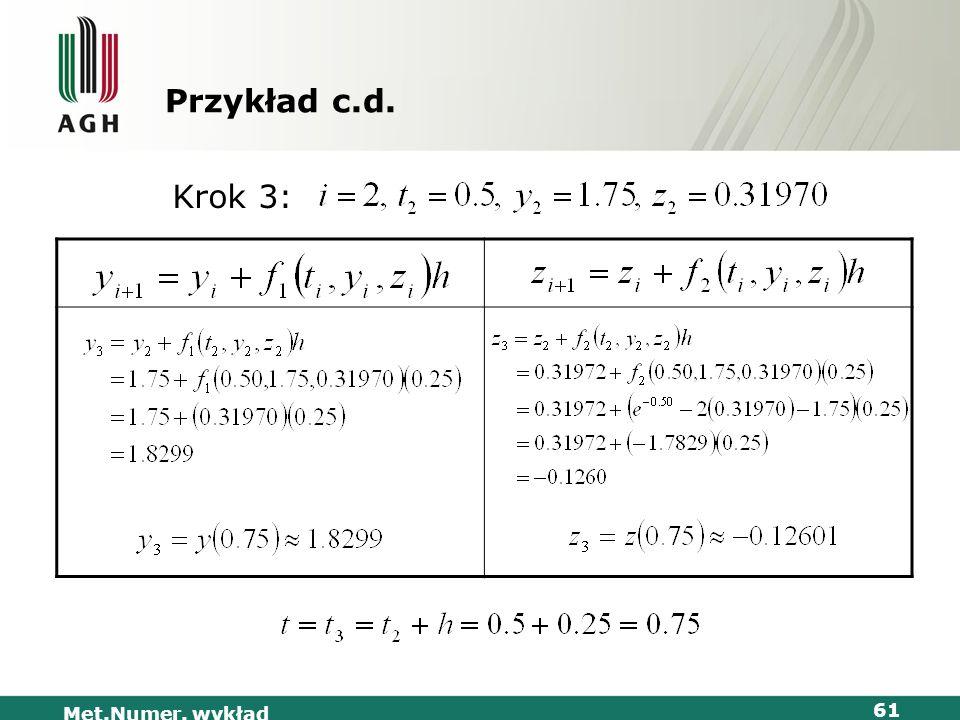 Przykład c.d. Krok 3: Met.Numer. wykład