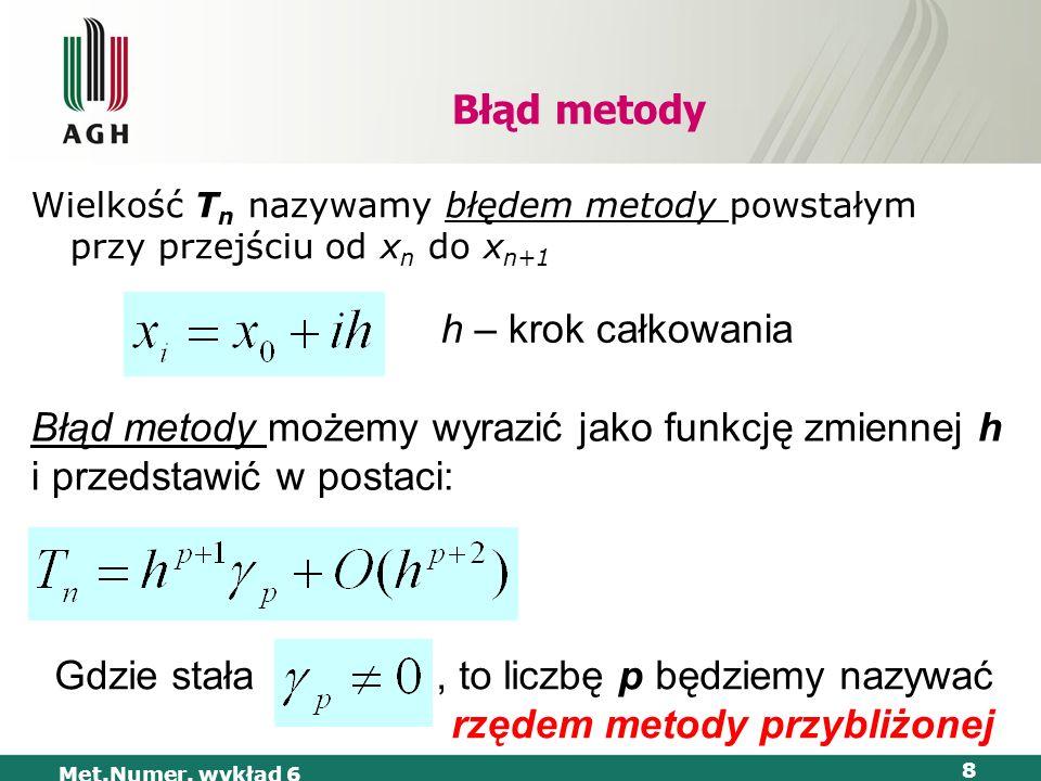Gdzie stała , to liczbę p będziemy nazywać rzędem metody przybliżonej